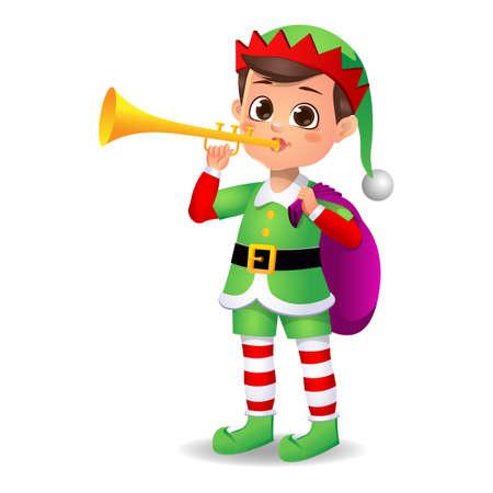boy kid in elf dress playing music instrument