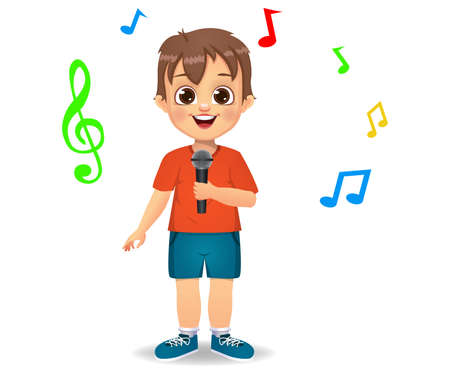 cute boy kid singing song vector