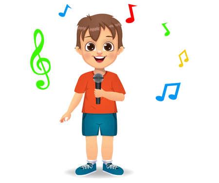 cute boy kid singing song vector