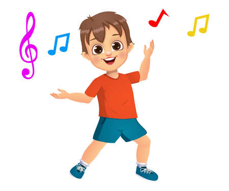 cute boy kid dancing to music vector