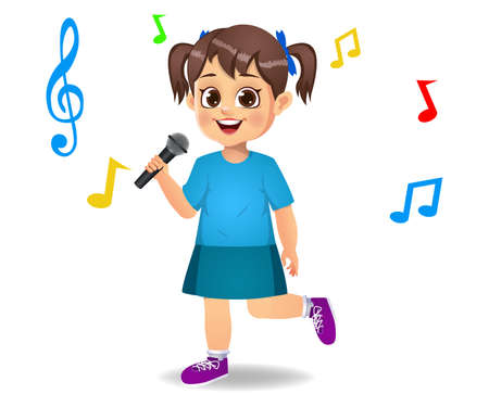 cute girl kid singing song vector