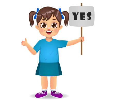 cute girl saying yes with sign Ilustração