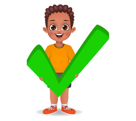 cute boy holding correct sign vector