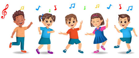 cute kids dancing to music together