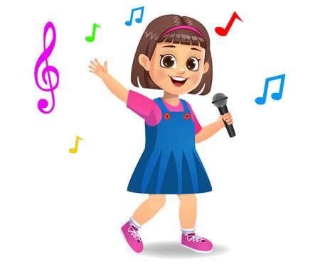 cute girl kid singing song vector Çizim
