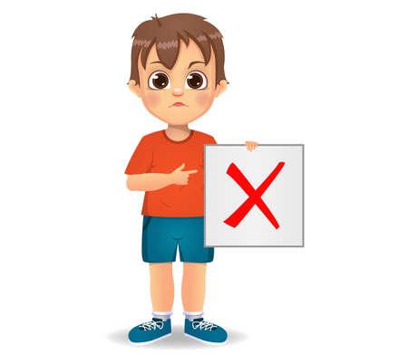 cute boy showing wrong sign Ilustração