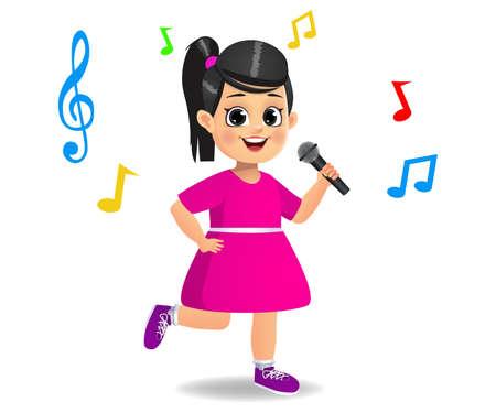 cute girl kid singing song vector