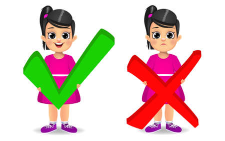cute girl holding correct and wrong sign vector