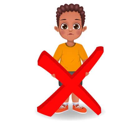 cute boy holding wrong sign vector Ilustração