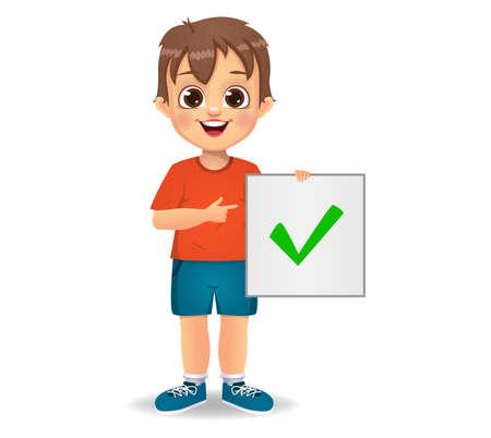 cute boy showing correct sign Ilustração