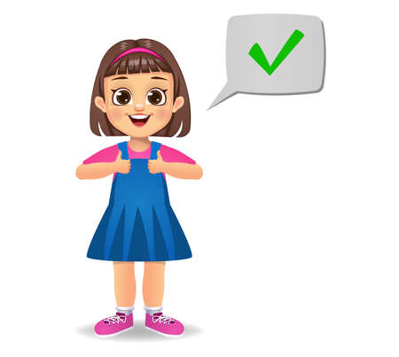 cute girl saying correct vector