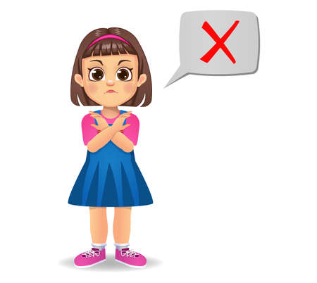 cute girl saying wrong vector