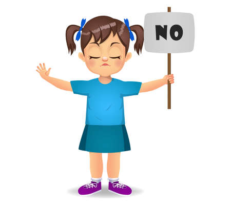cute girl saying no with sign