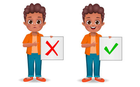 cute boy showing correct and wrong sign