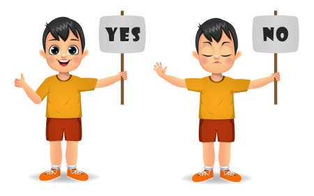 cute boy saying yes and no with sign Ilustração