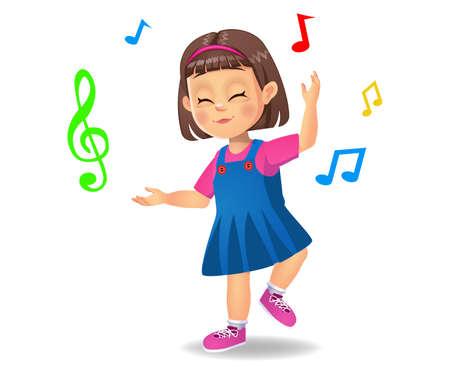 cute girl kid dancing to music Çizim