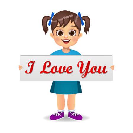 cute girl kid holding I love you board vector