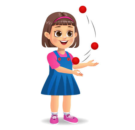 cute girl kid playing juggling