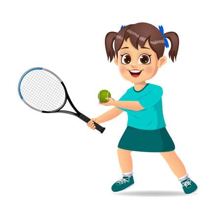 cute girl kid playing tennis