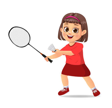 cute boy kid playing badminton Vettoriali