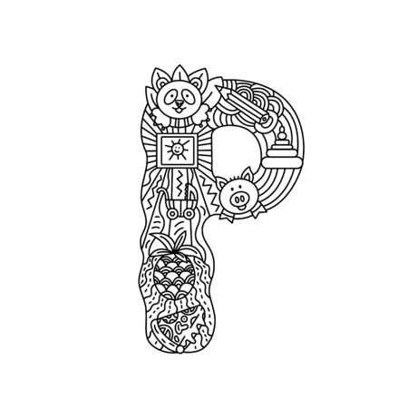 Alphabet. Letter P. Coloring. Cute objects isolated on a white background: panda, picture, pineapple, pizza, pencil, pyramid, pig, pram. Doodle style. Vector illustration.