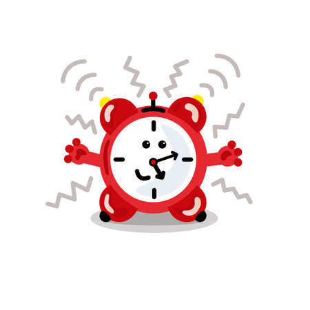 The red alarm clock is ringing. Vector illustration.
