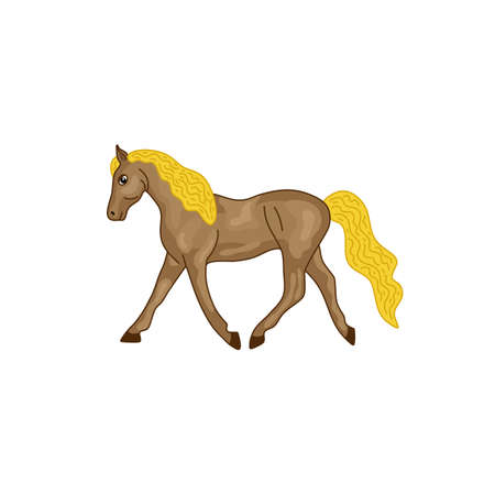 A brown horse with a yellow mane. Vector illustration.