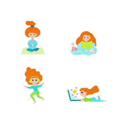 A girl with red hair is meditating, reading, dancing, texting with friends.