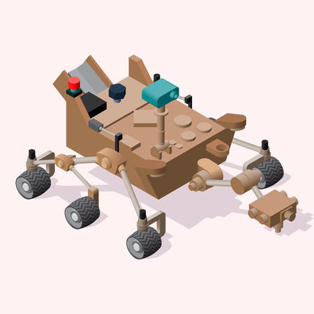moon walker: Mars Rover. Isometric illustration. Icon or element for space application design. Illustration