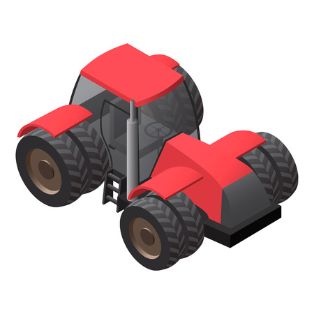 farm tractor: Farm tractor with big wheels. Isometric illustration. Icon or element for application design.