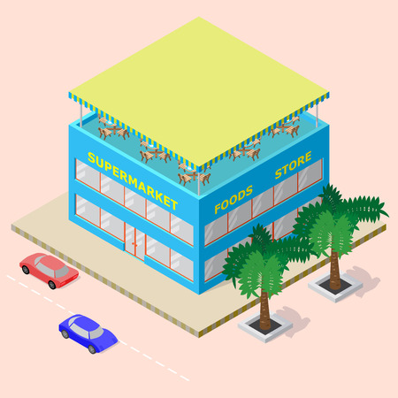 Isometric shopping center with supermarket, foods store and rooftop cafe. There are cars and palm trees beside this.  Illustration
