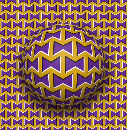 fallacy: Ball rolls along surface. Abstract vector optical illusion illustration. Purple bows on golden pattern motion background. Tile of seamless wallpaper.