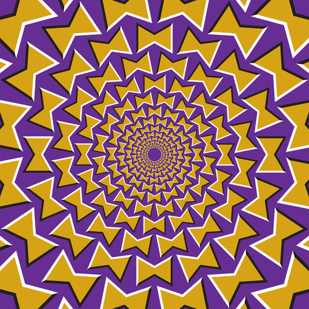 fallacy: Optical illusion background. Yellow bows revolves circularly from the center on purple background.