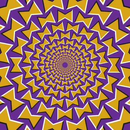 Optische illusie achtergrond. Gele bogen draait circulair van het centrum op de paarse achtergrond.