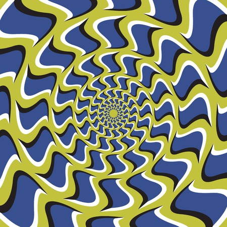 Optical illusion background. Blue hooks revolves circularly from the center on green background.