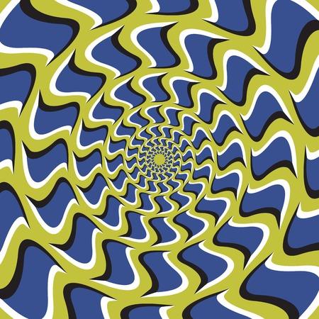 Optyczne tła iluzja. Niebieskie haki kręci się koliście od centrum na zielonym tle.