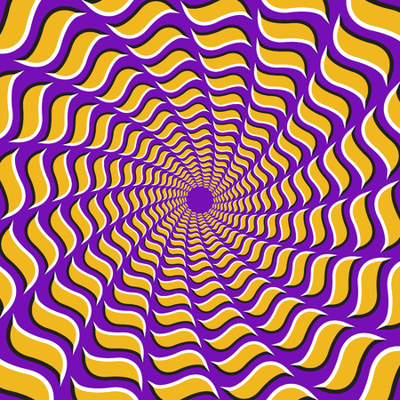 Optical illusion background. Yellow hooks fly apart circularly from the center on purple background. Stock Illustratie