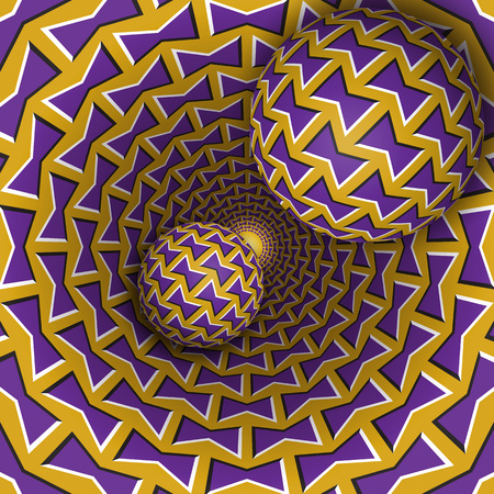 Optical illusion illustration. Two balls are moving on rotating funnel. Purple golden bows pattern objects. Abstract fantasy in a surreal style. Illustration