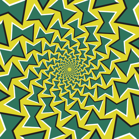 fallacy: Optical illusion background. Green bows revolves circularly from the center on yellow background.