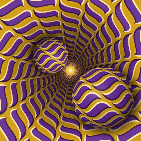 Optical illusion illustration. Two balls are moving on rotating funnel. Purple golden waves pattern objects. Abstract fantasy in a surreal style.
