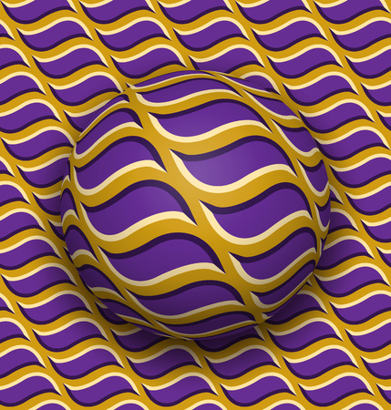 Ball rolls along surface. Abstract vector optical illusion illustration. Purple waves on golden pattern motion background. Tile of seamless wallpaper. Illustration