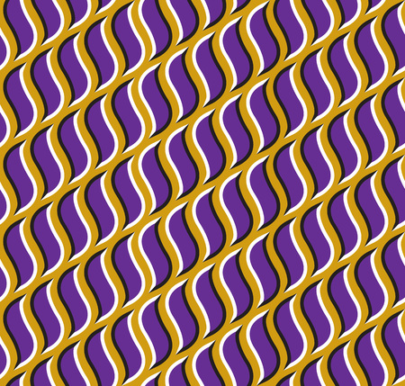 fallacy: Optical illusion seamless pattern. Purple hooks move on golden background.