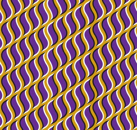 delusion: Optical illusion seamless pattern. Purple hooks move on golden background.