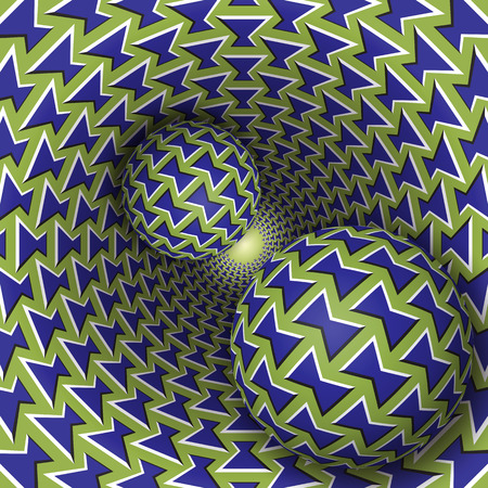 fallacy: Optical illusion illustration. Two balls are moving on rotating funnel. Blue green bows pattern objects. Abstract fantasy in a surreal style.