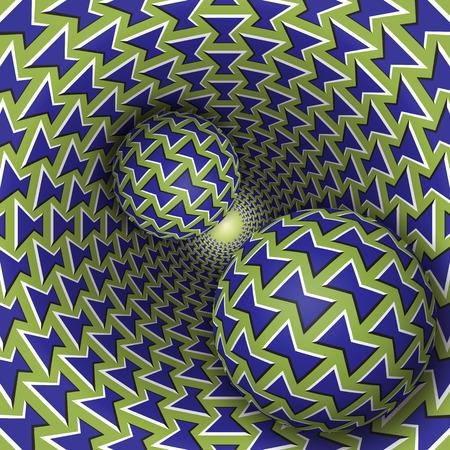 Optische illusie illustratie. Twee ballen bewegen op roterende trechter. Blauwgroen strikken patroon van objecten. Kort fantasie in een surrealistische stijl.