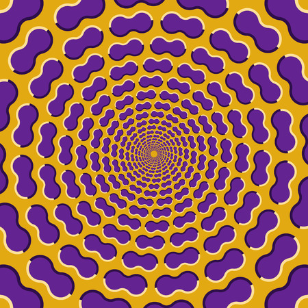 Optical illusion background. Purple clouds fly apart circularly from the center on yellow background. Illustration
