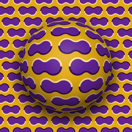 Ball rolls along surface. Abstract vector optical illusion illustration. Purple clouds on golden pattern motion background. Tile of seamless wallpaper. Illustration