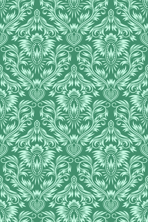 Damask seamless pattern repeating background. Green floral ornament in baroque style.