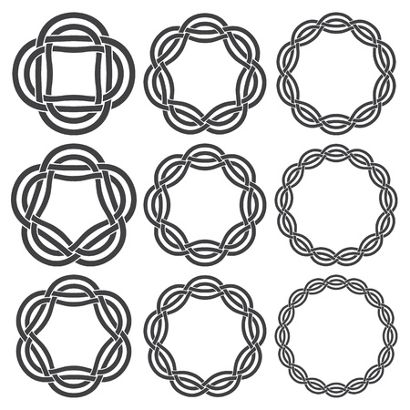 knotting: Set of vintage knotting rings. Nine circular decorative elements with stripes braiding for your design.