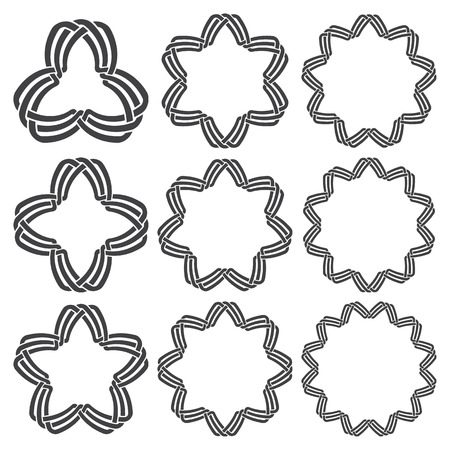 Set of magic knotting rings. Nine circular decorative elements with stripes braiding for your design.